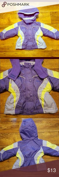 OshKosh B'Gosh Purple Coat Cute OshKosh coat in great condition. There are a couple tiny spots on the sleeves that arent very noticeable and a couple little spots on the inside above the tag which of course no one is going to see since they're inside. Hood is detachable. Size 24m. Osh Kosh Jackets & Coats Puffers