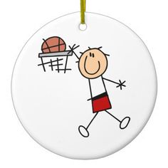 Stick Figure Slam Dunk T-shirts and Gifts Ornaments
