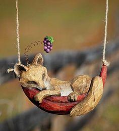 Daydreaming Fox Hanging Garden Sculpture