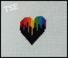 Rainbow Drip Heart Cross Stitch PDF Pattern by ThatsSewEllie                                                                                                                                                                                 Mehr