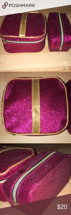 🆕Juicy couture makeup bags Juicy couture make up bags new, never used. NWOT pink sparkle with black interior. Good embellishment- zippers Juicy Couture Makeup Brushes & Tools