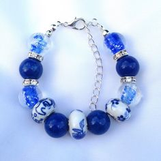 Blue Agate and Glass Beaded Bracelet agate and by ECJewellery