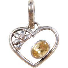 Sterling Silver Citrine Heart Pendant / Charm