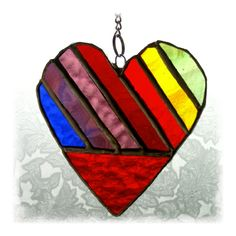 Love Heart (Rainbow) Stained Glass Suncatcher - Folksy
