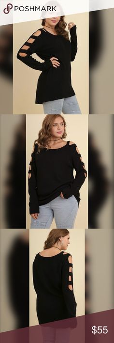 """✅✅PLUS✅✅Halee Knit Sweater with Cutout Sleeves Boat Neck black sweater with long cutout sleeves.  65% Cotton 35% Polyester.   Front Length 24"""" Back Length 26"""". Sweaters"""