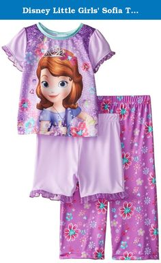 Disney Little Girls' Sofia The First Flower Fun 3-Piece Pajama Set, Multi, 3T. This princess Sofia sleepwear set is sure to be a hit the bright purple and fun flowers will make any girl feel like royalty. Perfect for sleeping and lounging, this set can we worn with shorts or pants.