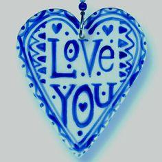"""Love You"" Blue heart - Roelofs & Rubens-do it in mosaics Love Blue, Blue And White, I Love Heart, Fire Heart, Love Symbols, Heart Art, All You Need Is Love, Delft, Heart Shapes"