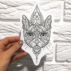 by @yanacat29 #sketchtattoo #tattoo #tattooart #tattoodesign Line art marker black cat face flower butterfly drawing sketch