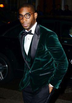 Green velvet tuxedo men's smoking jacket