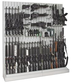 Cheaper than wood carpentry work. Tactical looking. Kind of cool. Have one wall of shelves for ammo. Maybe a table for reloading/working on guns. A few cabinets for other stuff Rifles, Pistola Airsoft, Arsenal, Weapon Storage, Airsoft Storage, Ammo Storage, Gun Rooms, Cool Guns, Guns And Ammo