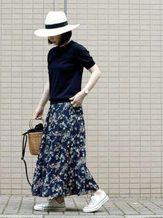 おはようございます~ お気に入りの花柄スカート パナマハットと『MADE IN JAPAN』