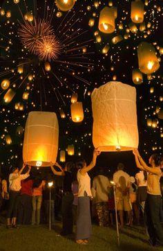 Floating Lanterns in Loy Krathong Festival, Thailand