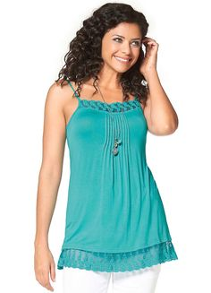 A spaghetti strap camisole with intricate lace detail on the chest and hem.  Brand: Boysen's  Washable  95% Viscose, 5% Elastane  Length approx. 69 cm (27½ ins)