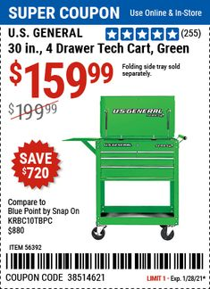 Harbor Freight Coupon, Harbor Freight Tools, Blue Point, Working Area, Storage Spaces, Coupons, Cart, Drawers, Coupon