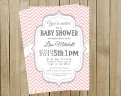 Vintage Pink Chevron with Gray Baby Shower Invitation, Custom Digital File, Printable on Etsy, $12.00