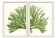 One Kings Lane - Colorful Spaces - Green Coral Diptych