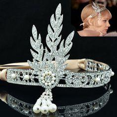 The Great Gatsby Flower Tiara Crown Rhinestone Crystals Bridal Bridesmaid FA3243