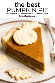The Best Pumpkin Pie Recipe from Scratch! This easy pumpkin pie recipe contains NO sweetened condensed milk and tastes amazing! Perfect for Thanksgiving! Best Pumpkin Pie Recipe, Easy Pumpkin Pie, Homemade Pumpkin Pie, Pumpkin Dessert, Pumpkin Recipes, Pumpkin Pie Recipe No Condensed Milk, Baked Pumpkin, Pumpkin Cookies, Pumpkin Puree
