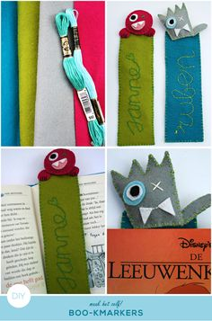 how to make bookmarkers out of felt #diy ; boekenlegger van vilt maken #zelfmaker