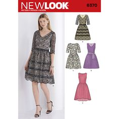 Misses' dress with princess seams can be made V-neck with belt, half sleeves and optional lace overlay, or sleeveless with V-neck and scalloped hem, or scoop neck with high low hem, both with lace overlay. New Look sewing pattern.
