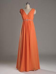 Fall wedding ideas - Vive Bright V-neckline Empire Orange Bridesmaid Dress