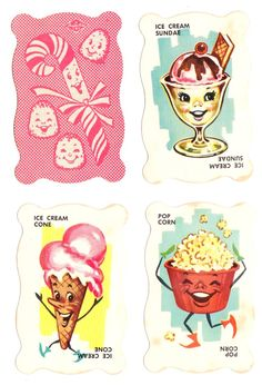 Dandy Candy Game (1950s). The game cards feature adorable food illustrations.  It looks like there was both a card game and a board game, by Built-Rite.  The board game seems to have been a CandyLand knock-off.