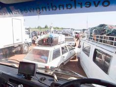 Waiting for the ferry across the Gambia River on our Overlanding West Africa trip from Dakar to Freetown Overland Truck, Adventure Tours, Guinea Bissau, Sierra Leone, West Africa, Roads, Waiting, River, Fun