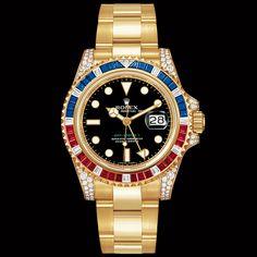I) Nel 2006 insieme alla referenza 116713, vengono presentate le referenze in oro giallo con diamanti zaffiri e rubini, come il modello in foto, Ref.116758SARU