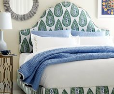 Pretty Lacefield Designs Bindi fabric on a headboard Comfy Bedroom, Bedroom Sets, Master Bedrooms, Bedroom Furniture, Bedroom Decor, Drapery Designs, Guest Room Office, Upholstered Beds, Bedroom Accessories