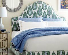 Pretty Lacefield Designs Bindi fabric on a headboard Comfy Bedroom, Drapery Designs, Bedroom Inspirations, Home Bedroom, Bedroom Decor, Beautiful Bedrooms, Bedroom Bliss, Upholstered Beds, Bedroom Furniture