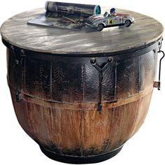 miaVILLa salontafel trommel-design hout metaal zwart bruin ca. 48 cm hoog 62 cm Ø