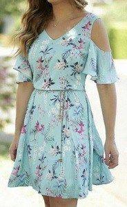 Dress with open shoulders, Free DIY pattern size 36-56 - Marlene Mukai