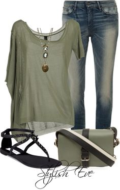 olive colored tee with jeans  Good for an apple shape.