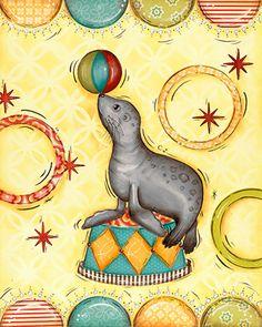 Sea Lion, Children's Wall Art, Circus Decor, 11x14 Print, Circus Nursery. $21.00, via Etsy.