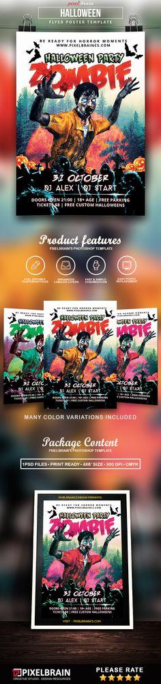 Halloween Zombie Party Flyer Template Download Vol - 4 Flyer