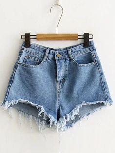 Blue Raw Hem Denim Shorts