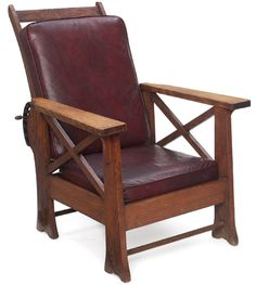 "Arts & Crafts Morris chair, flat arm form with X design under each arm, flared legs with applied keyed-tenon detail, replaced cushion, refinished, 30""w x 32""d x 39""h"