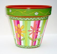 Hand Painted Terracotta Pot 6 Inch Sherbet by ThePaintedPine, $25.00