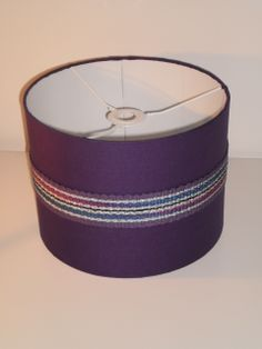 Deep Purple Drum lampshade with purple/cerise/navy and gold metallic trim. By: Grainne Kenny - Textile Designer.