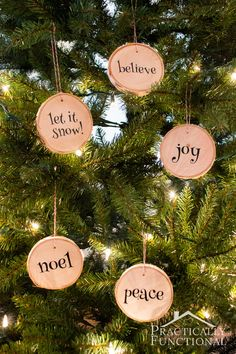 Make your own wood slice Christmas ornaments! Use a fallen tree branch from the neighborhood, or wood slice coasters from a craft store! Noel Christmas, Diy Christmas Ornaments, Homemade Christmas, Rustic Christmas, Christmas Projects, Holiday Crafts, Christmas Decorations, Christmas Coasters, Christmas Trends