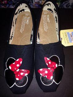 Black Disney Minnie Toms NO Glitter by JudyMoodyDesigns on Etsy, $96.00