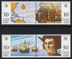 Cyprus Scott #798-801 (29 May 1992) Discovery of America Europa issue:  Map, Embarkation at Palos, Spain; Columbus' ships, Christopher Columbus.