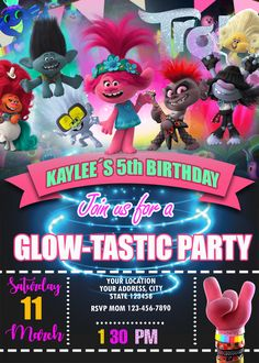 troll world tour party / troll world tour party . troll world tour party ideas . troll world tour birthday party Birthday Party Locations, Trolls Birthday Party, Troll Party, 4th Birthday Parties, 5th Birthday, Surprise Birthday, Birthday Ideas, Birthday Greeting Cards, Happy Birthday Cards