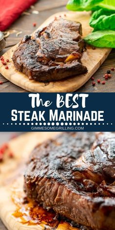 The BEST Steak Marinade! This is the BEST Steak Marinade ever! It will make your steaks juicy, tender and full of flavor. We love that it's made with pantry staples so you have everything on hand. If you are looking to make the best steak e Sirloin Steak Recipes, Steak Marinade Recipes, Grilled Steak Recipes, Marinated Steak, Grilling Recipes, Cooking Recipes, Best Marinade For Steak, Homemade Steak Marinade, The Best Ribeye Steak Recipe