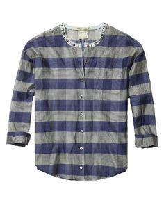Katoenen/zijden doorschijnend geruit shirt in jaren 50-stijl met een met kralen bestikte kraag   Shirt l/s   Dameskleding bij Scotch & Soda