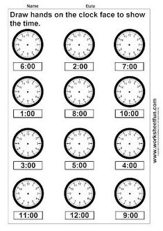 Time Worksheets for Kids Clock Worksheets Time Draw Hands Worksheet 4 Clock Worksheets, Kindergarten Math Worksheets, School Worksheets, Free Printable Worksheets, Worksheets For Kids, Subtraction Kindergarten, Alphabet Worksheets, Alphabet Letters, Teaching Time