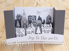 handmade village scene u-bridge fancy fold Christmas card made with Stampin Up Hearts Come Home stamp set & Hometown Greetings thinlits dies. Card by Di Barnes colourmehappy Demonstrator in Sydney Australia