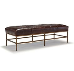 Mitchell Gold MAJOR BENCH OTTOMAN LEATHER - nice for satin brass legs - leather color would be best in caramel or a mid brown