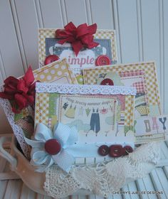 Cottage cute IT'S the SIMPLE THINGS set of four double stitched handmade cards gift set decoration