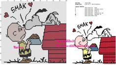 Snoopy kiss Charlie Brown cross stitch pattern